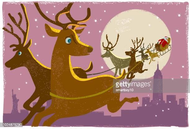santa's reindeer new york - reindeer stock illustrations
