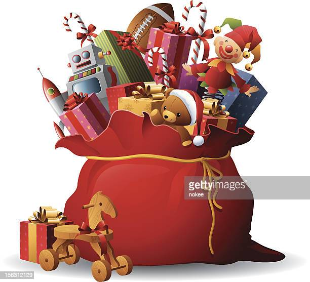 santa's sack - large group of objects stock illustrations