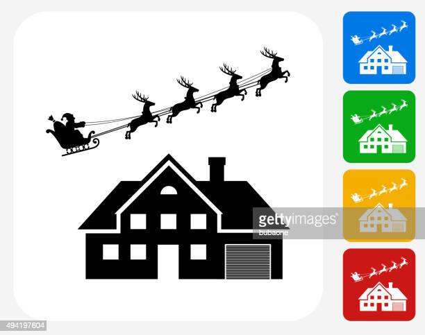santa's slay over the house icon flat graphic design - murderer stock illustrations, clip art, cartoons, & icons