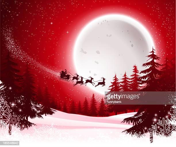 santa's sleigh on night - sled stock illustrations