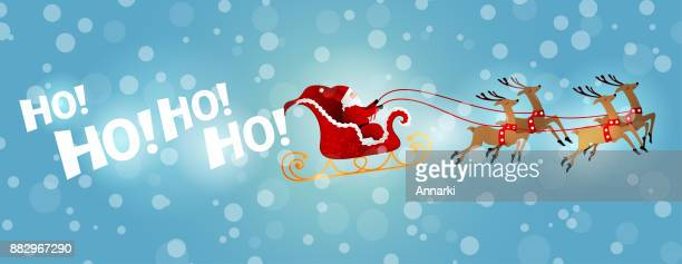 santa's sleigh ride in winter - sleigh stock illustrations