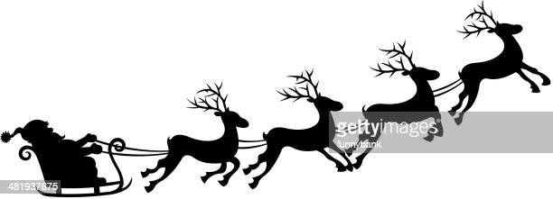 santa's sleigh silhouette - sleigh stock illustrations