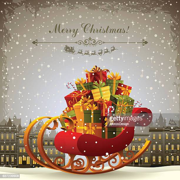 santa's sleigh - sleigh stock illustrations