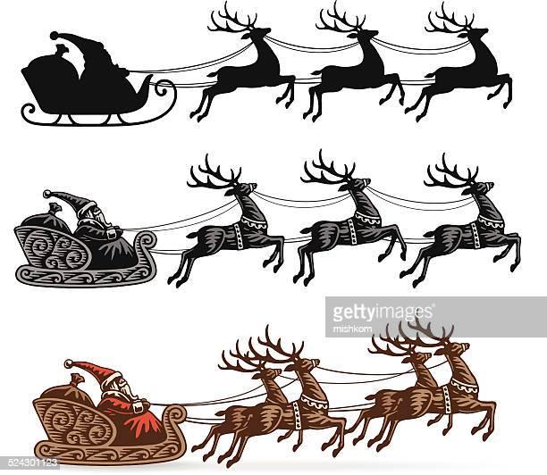 santa's sleigh with reindeer - reindeer stock illustrations