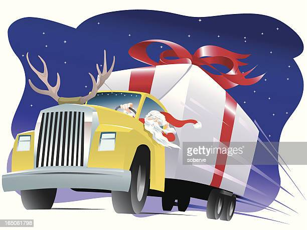 illustrations, cliparts, dessins animés et icônes de santa s camion - chauffeur routier