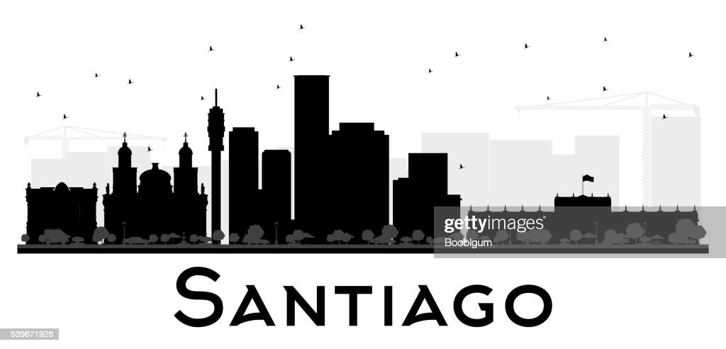 Santiago City skyline black and white silhouette.