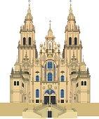 Santiago de Compostela Cathedral, Spain Vector illustration.