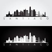 Santiago skyline and landmarks silhouette, black and white design, vector illustration.