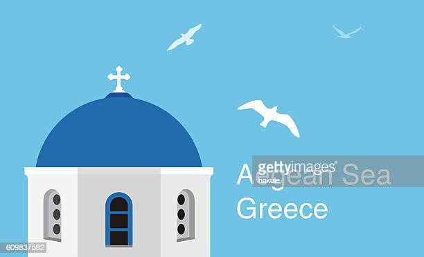 santorini aegean sea islands. flat cartoon style  attraction, vector illustration. - greek islands stock illustrations, clip art, cartoons, & icons
