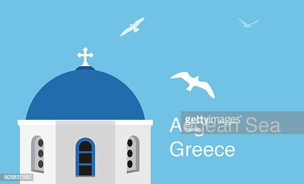 santorini aegean sea islands. flat cartoon style  attraction, vector illustration. - santorini stock illustrations