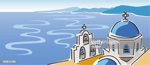 santorini, greece - greek islands stock illustrations, clip art, cartoons, & icons