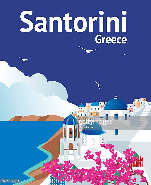 santorini - volcanic crater stock illustrations, clip art, cartoons, & icons