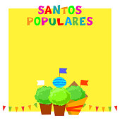 Santos Populares Portugues festival banner with bunting garlands, flags and manjerico plants.