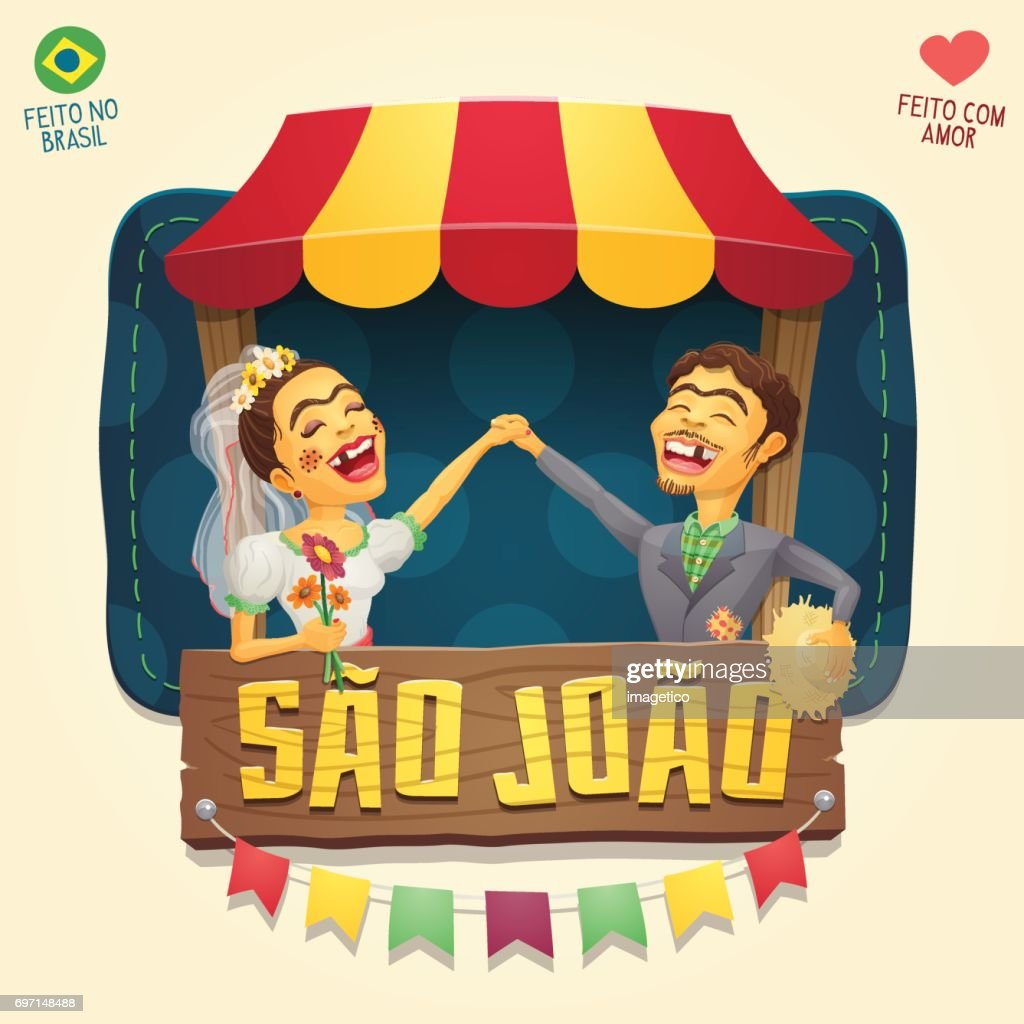 Sao Joao (Saint John) Brazilian June Party hick couple in front of a tent wooden sign logo/ header