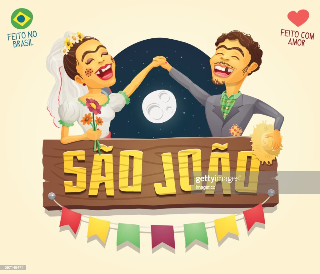Sao Joao (Saint John) Brazilian June Party hick couple with wooden sign header