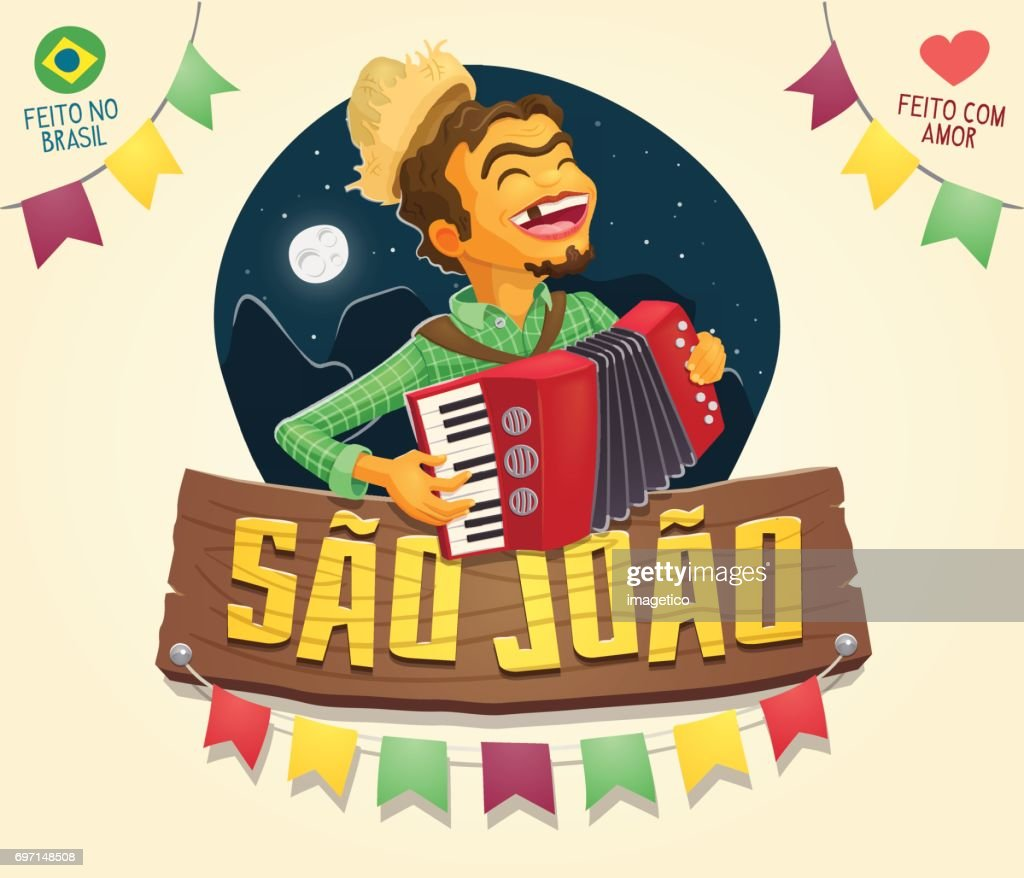 Sao Joao (Saint John) sign with happy hillbilly playing the accordion - Brazilian June Party