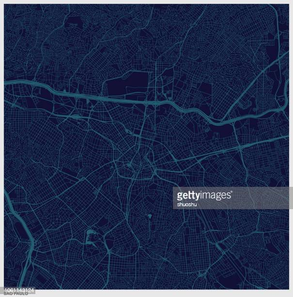 sao paulo city blue structure art map,brazil - são paulo stock illustrations