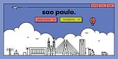 Sao Paulo Modern Web Banner Design with Vector Linear Skyline