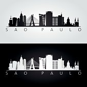 Sao Paulo skyline and landmarks silhouette, black and white design, vector illustration.