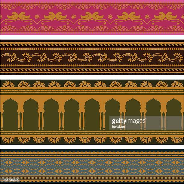 sari borders - gold - sari stock illustrations