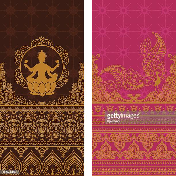 sari borders tall - gold - sari stock illustrations