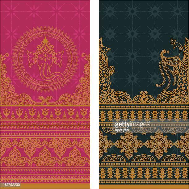 sari borders tall - gold - ganesha stock illustrations
