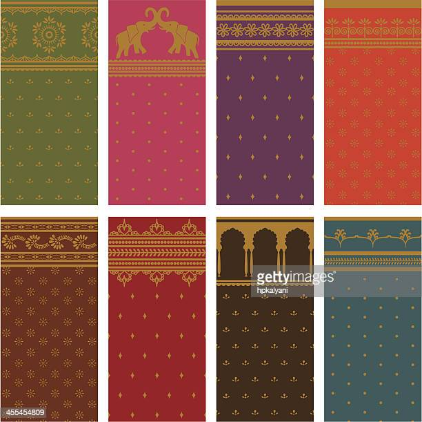 sari seamless borders - horizontal - sari stock illustrations