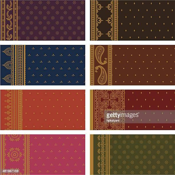 sari seamless borders - vertical - sari stock illustrations