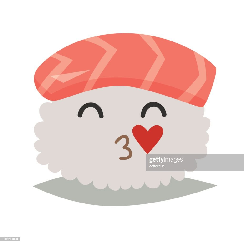 Sashimi  in love emoji vector illustration