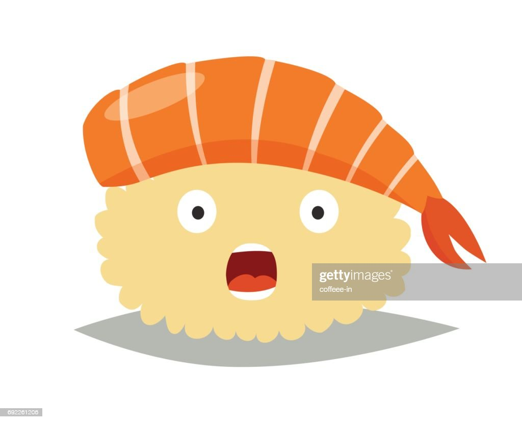 Sashimi surprised emoji vector illustration