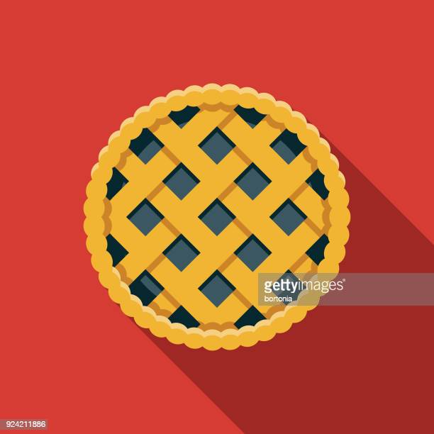 saskatoon berry pie flat design canadian icon with side shadow - pastry lattice stock illustrations, clip art, cartoons, & icons