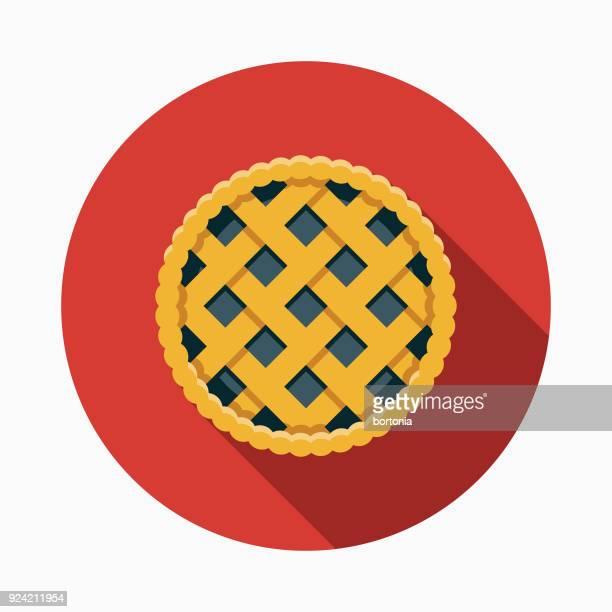 Saskatoon Berry Pie Flat Design Canadian Icon with Side Shadow