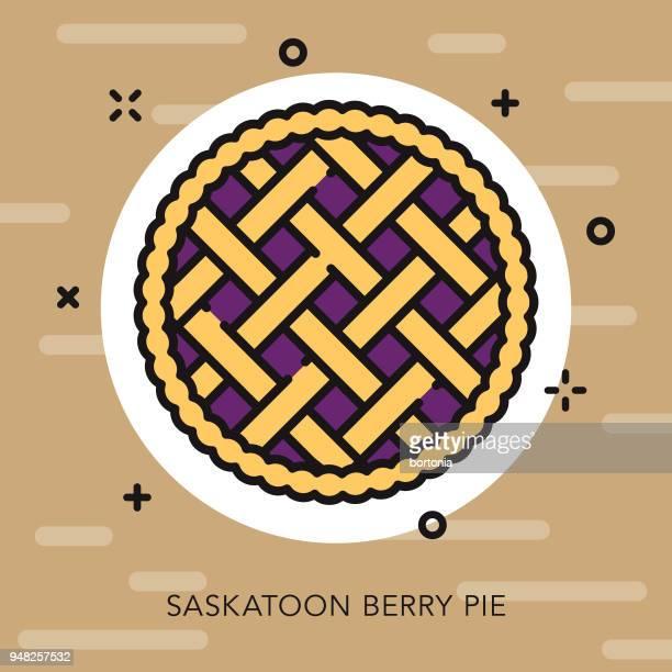 ilustrações, clipart, desenhos animados e ícones de torta de baga saskatoon contorno aberto ícone canadense - pastry lattice