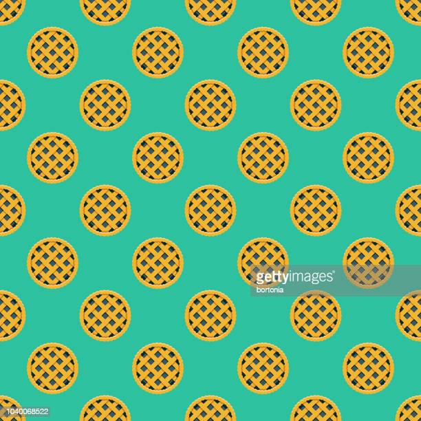 saskatoon berry pie seamless pattern - pastry lattice stock illustrations, clip art, cartoons, & icons