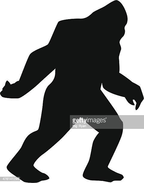 sasquatch silhouette - bigfoot stock illustrations