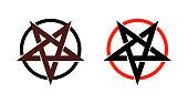 Satan star, pentagram symbol of satanism, Mystical Sign round form - Vector emblem of spiritual cult.
