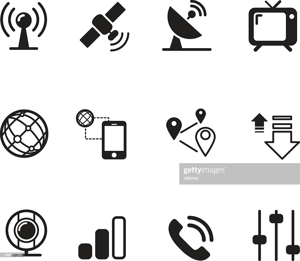 Satelite communication technology silhouette icons