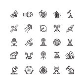 Satellite and orbit communication, aerial line thin icons