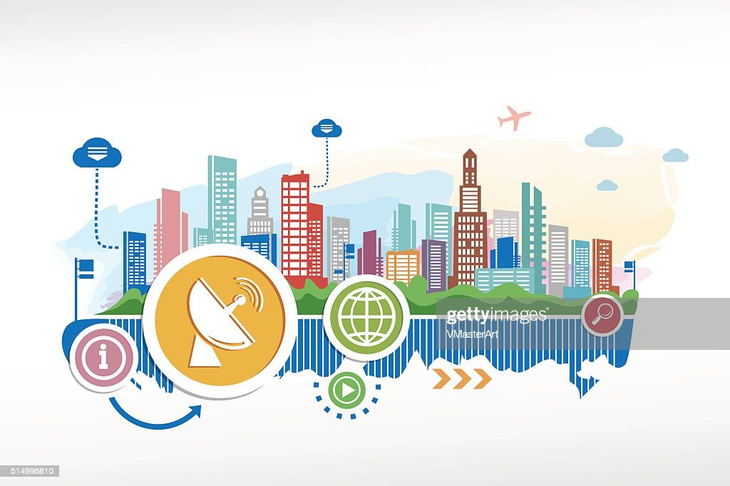 Satellite antenna and cityscape background with different icon a