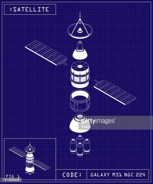 satellite blueprint radar spacecraft outer space exploration technology - receiver stock illustrations
