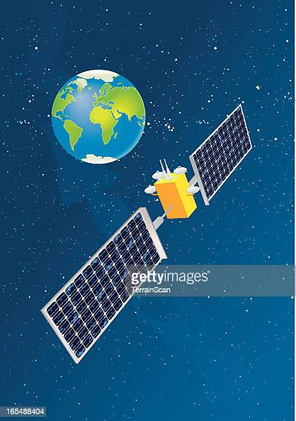 satellite cartoon picture above earth - satellite view stock illustrations