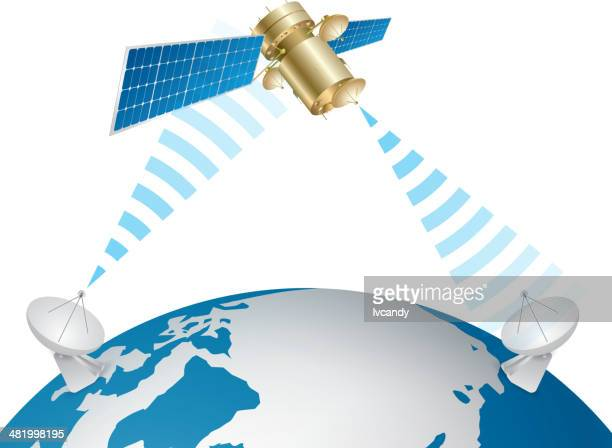 satellite communication - receiver stock illustrations