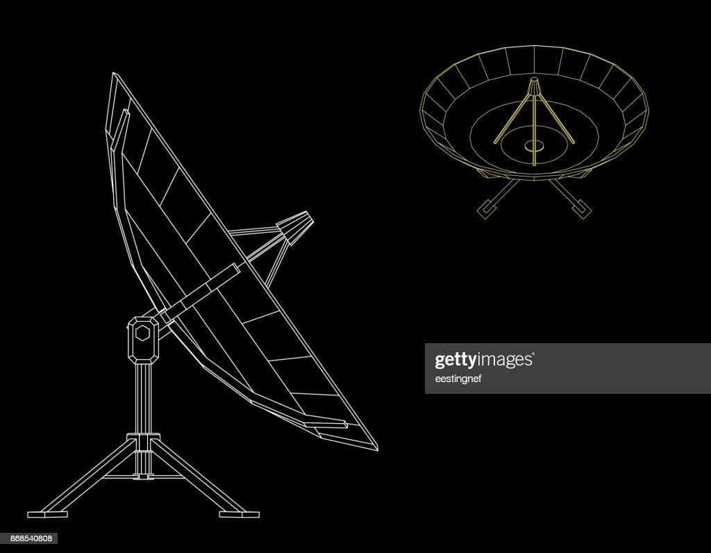 Satellite dish antenna. Isolated on black background. Vector outline illustration.