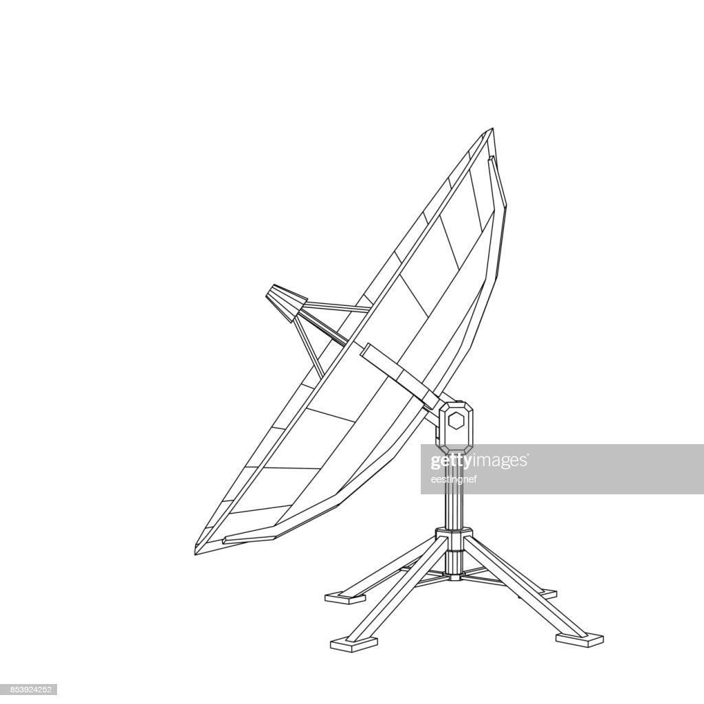 Satellite dish antenna. Isolated on white background. Vector outline illustration.