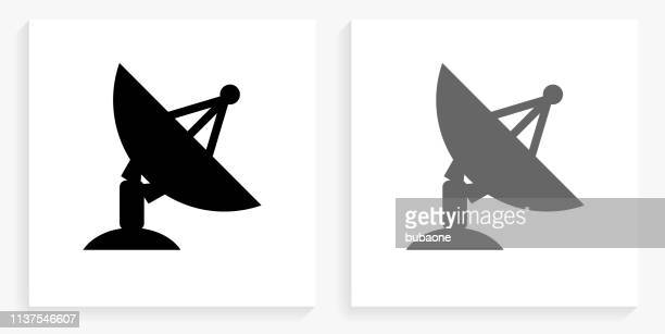 satellite dish black and white square icon - receiver stock illustrations