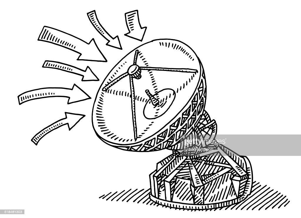 Satellitenschüssel Kommunikation Pfeile zeichnen : Stock-Illustration