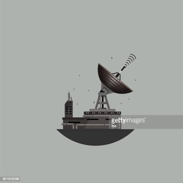 ilustraciones, imágenes clip art, dibujos animados e iconos de stock de antena parabólica, torre de comunicaciones, - torresdetelecomunicaciones
