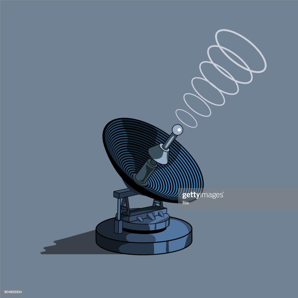 antenne parabolique la tour de télécommunications clipart vectoriel