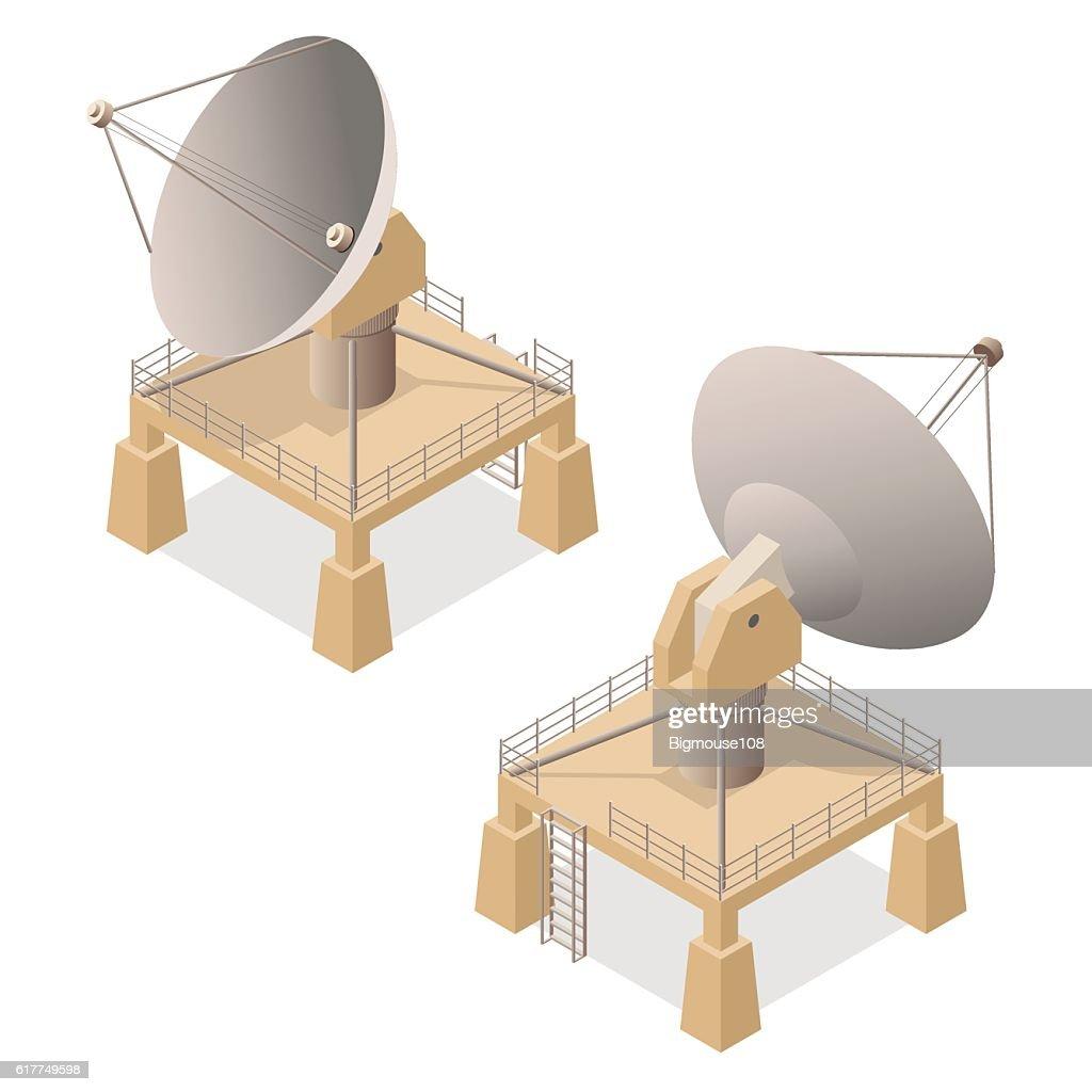 Satellite Dish Isometric View. Vector