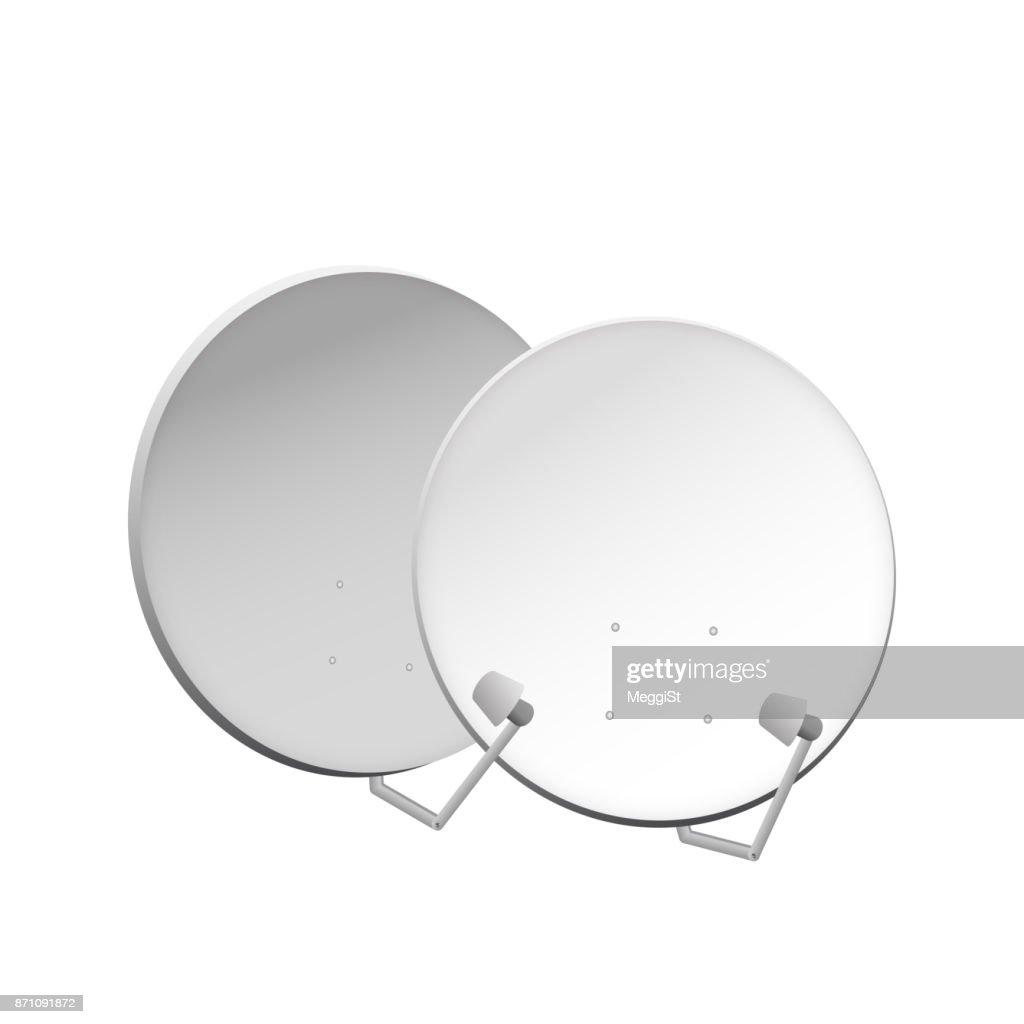 Satellite dish on white background.